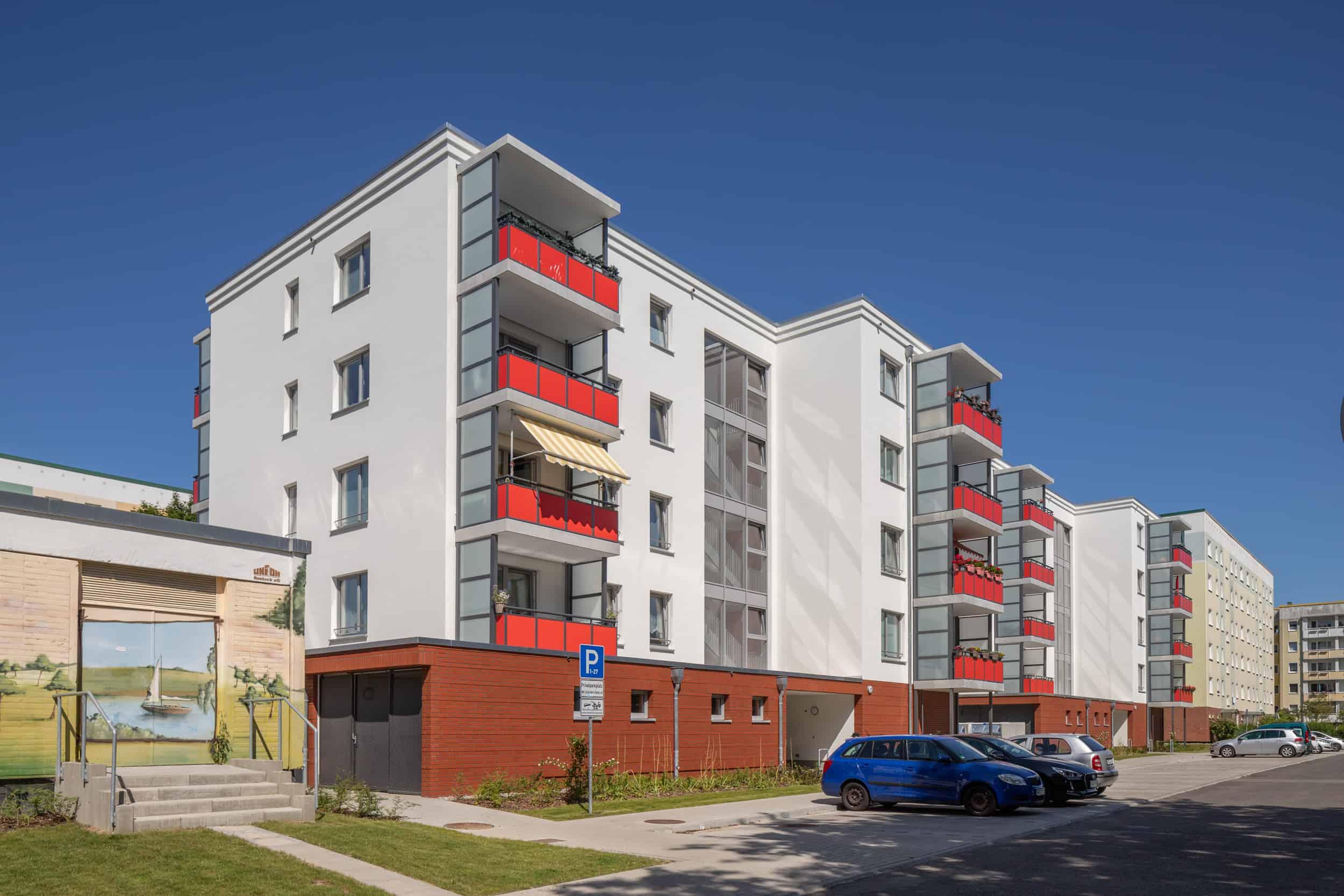 Sozialer Wohnungsbau in Rostock Schmarl - Vitus Bering Straße, Doppelbau