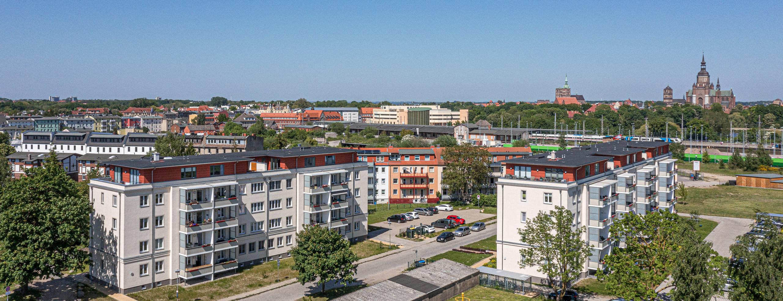 Kupfermühle - Lage im Stralsunder Stadtpanorama